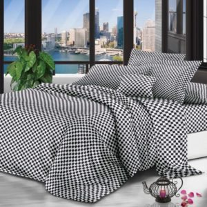 Queen Bedding BLack And White Squares Set
